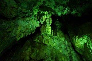 The lighting inside Abukuma makes the rock look green.