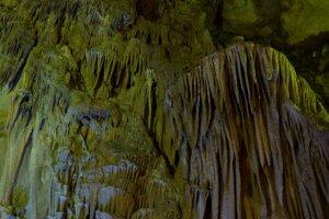 A waterfall-like rock formation in Abukuma Cave.