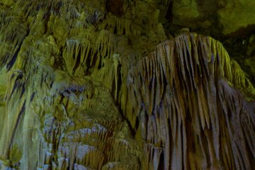 <p>A waterfall-like rock formation in Abukuma Cave.</p>