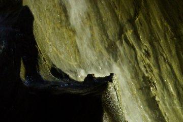 <p>An underground waterfall.</p>