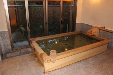 <p>The private/family cedar wood bath</p>