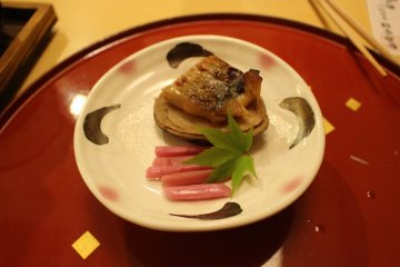 <p>Mountain potato and mountain fish cut to look like a scallop</p>