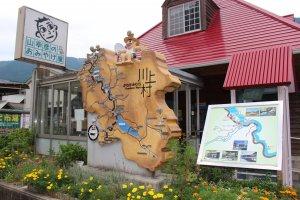 The wooden plaque/map of Kawakami-mura