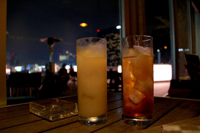<p>A cocktail (left) and a Darjeeling cocktail (right)</p>