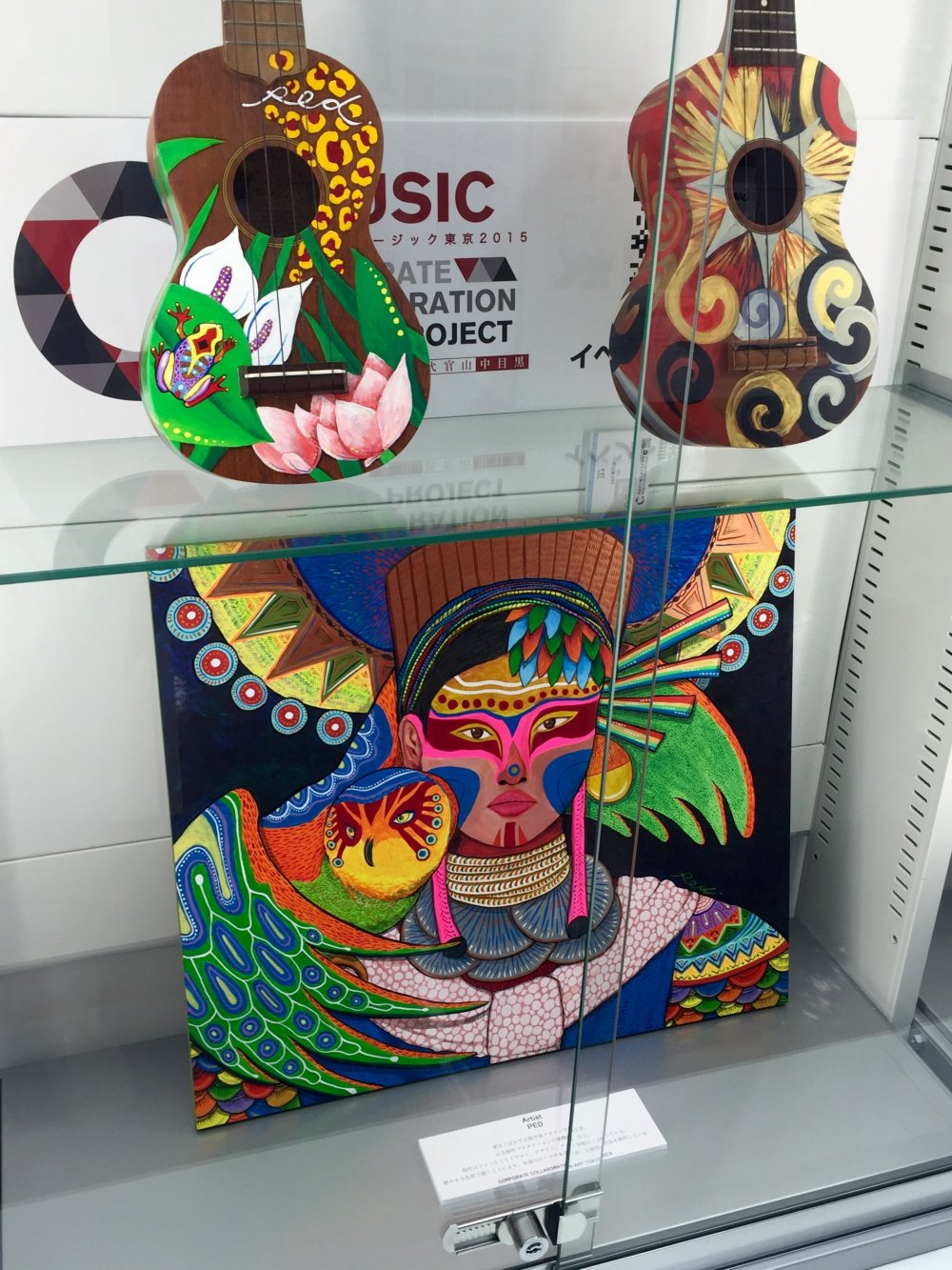 Красочные укулеле, а под ними - яркая и таинственная островитянка с не менее очаровательной совой