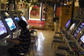 The vintage video game arcade on the top floor