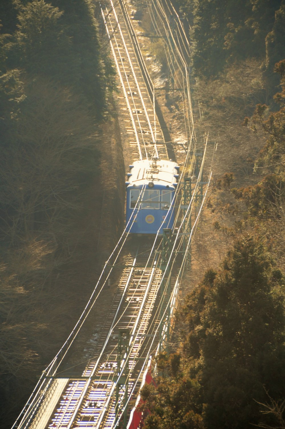 The cable car, which travels from Takimoto to Mitake Village, has been operating since 1927.