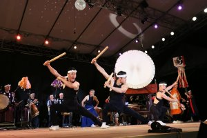 KODO drummers parade matsuri style through Ogi Town