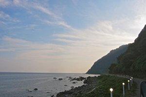 Driving south along Japan facing coast