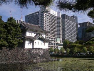 ฟุชิมิ ยะกุระ ยืนเหนือคูน้ำคิเคียว โดยมีตึกระฟ้าของกรุงโตเกียวเป็นฉากหลัง