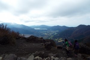 On top of Mt. Kintoki, with lake Ashi in the distance