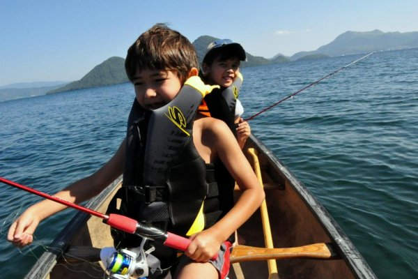 Fishing in the pristine waters of Lake Toya