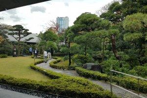 롯본기 모리 타워가 보이는 정원.