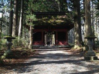 A closer look at Zuishinmon Gate,the gate to Okusha Shrine.