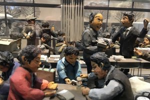 There are many detailed diorama on display.