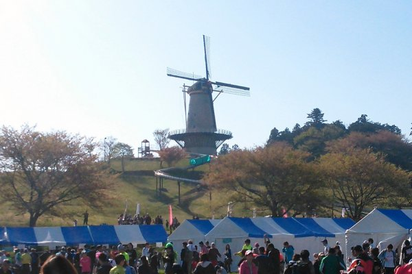 The windmill overlooking the registration area for the runners.  You can see the windmill from across the lake as well.