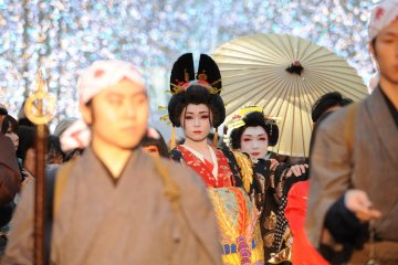 <p>The courtesans, known as &quot;oiran&quot; in Japanese, are dressed in stunning outfits</p>