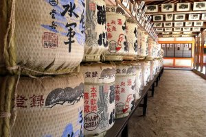 Sake barrels within the colonnade