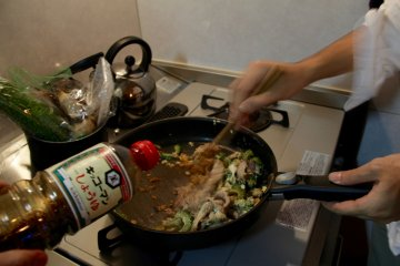 <p>And in goes the soy sauce</p>