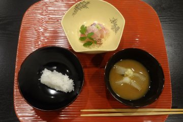 <p>The first course of the cha-kaiseki meal</p>
