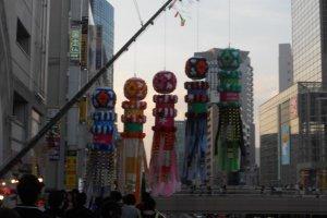 Kushidama decorations in the Sendai Station area