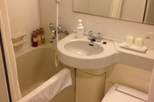 Bathroom with washlet toilet. The tap water is drinkable