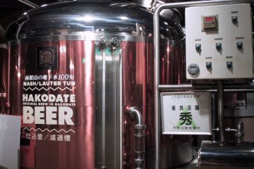 Tanks filled with one of the few beers produced by the Hakodate Beer Hall
