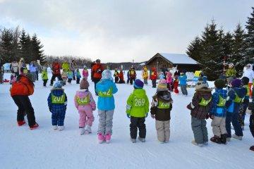 Дети в группах слушают лекцию по катанию на лыжах