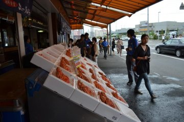 The market is home to several shops selling crabs and other fresh seafood