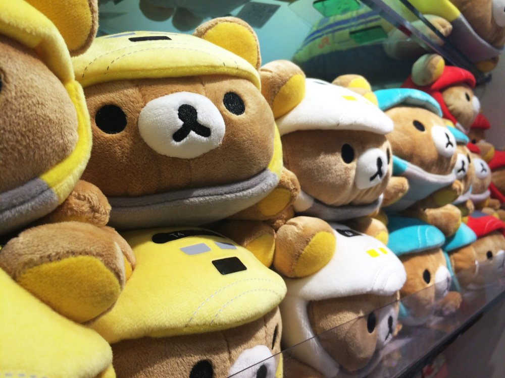 The store has tons of different Rilakkuma-themed stuffed animals.
