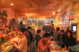 The cozy inside of 8bit cafe