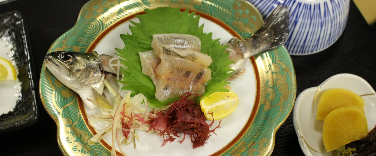 Fresh amago sashimi, part of Hotel Nosegawa Japanese kaiseki course dinner