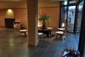 Inside the lobby of the ryokan