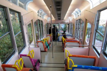 <p>The interior of the cable car to the summit of Mt. Ikoma</p>