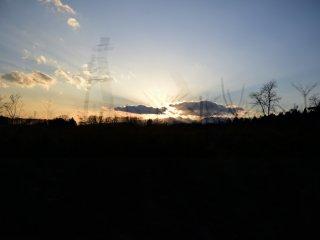 那須高原に陽が沈む