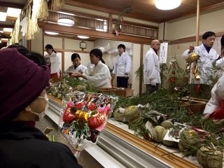 """""""Fuku-zasa"""", one of the lucky goods is sold in the shrine."""