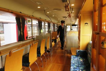 While Europe has the Orient Express, Kyoto's north coast now has a Japanese version, the Kyoto Tango Railway's Matsu train. Named after the pine trees that line the shore at Amanohashidate, where the untouched green mountains touch the sea.