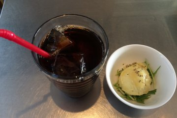 <p>The iced coffee and potato salad was delicious.</p>