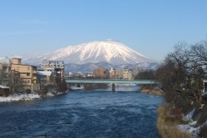 Mount Iwate seen from downtown Morioka, towering over the city