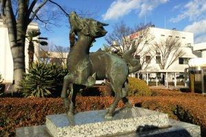 A statue in front of the Kirin Beer Factory in Tagajo