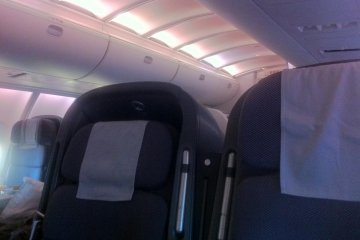 <p>2 by 2 business class shell seats give a club like atmosphere</p>