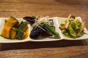 Aperitivos del restaurante Mumokuteki en Kioto