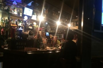 A view of half of the bar and array of alcohol available!