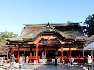 This is the main shrine, where visitors come to pay respects and pray for good luck.