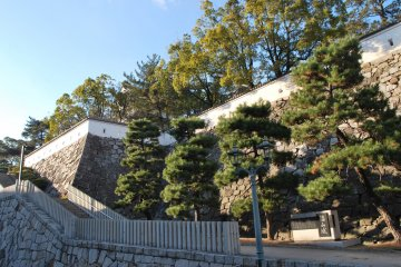 Steps right outside Fukuyama Station leading to the castle grounds