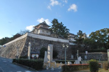 View of the castle and its turrets from Fukuyama Station