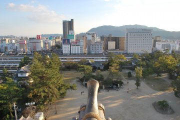 A view of Fukuyama Station from the top of Fukuyama Castle