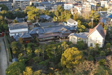 View of Fukuju Hall and its garden from top of the castle