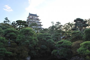 View of Fukuyama Castle from Fukuju Hall and the teahouse garden