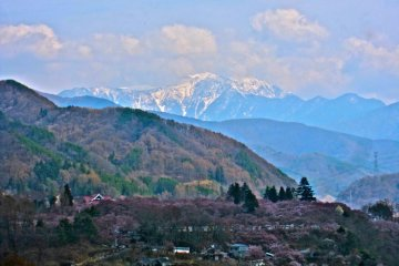 Takato Castle Ruins Park and the Southern Japanese Alps from afar